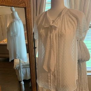 Loft Eyelet Swiss Dot Blouse